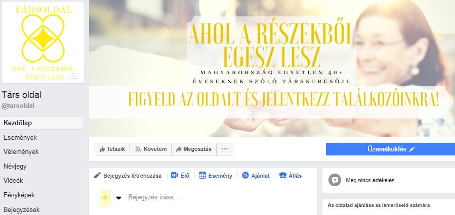 Társ oldal Facebook kampánya